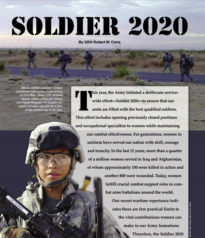 Il caporal maggiore scelto dell'esercito degli Stati Uniti Kristine Tejeda: (Fonte: http://www.ausa.org/publications/armymagazine/archive/2013/11/Documents/Cone_Nov2013.pdf)